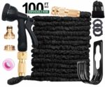 ANSYU 100FT Expanding Garden Hose Pipe With 8 function Spray Gun Expandable Flexible Magic Hose/Anti-leakage/Brass Connector Fittings/Hose Hanger/Storage Bag (Black)