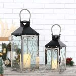 JHY DESIGN Set of 2 Vintage Hanging Lantern 48.5cm & 35.5cm High Decorative Candle Lanterns Stainless Steel and Metal Lanterns for Candles Indoor Outdoor Garden Parties Weddings