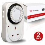 Defender 24 Hour Segment Timer Switch - Energy Saver Plug Standard Size - Hour Plug-in Timer Socket Set - 240v 3 Pin Plug with Programmable Time Controller (2 x Pack)