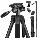 Victiv 72-inch Camera Tripod Aluminum Monopod T72 Max. Height 182 cm - Lightweight and Compact for Travel with 3-way Swivel Head and 2 Quick Release Plates for DSLR Video Shooting - Black