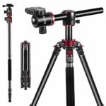 ESDDI Camera Tripod 75 inches Travel Tripod with Aluminium Alloy Material 360 Degree Ball Head and Transverse Center Monopod for Canon Nikon Sony Pentax