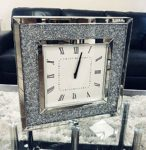 Sassy Home CD090 Crush Diamante Crystal Mirrored Square Wall Clock