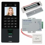 KDL Facial Access Controller Biometric Fingerprint Face Recognition Time Attendance Machine Employee Checking-in Payroll Recorder with DC12V Power Supply + 180kg/350lbs Electric Magnetic Door Lock
