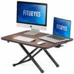 FITUEYES Standing Desk Converter Black Height adjustable with Gas Spring Stand up Desk for Dual Monitor L78.5xW52cm SD108001DW