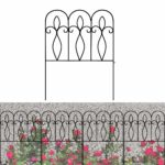 Decorative Garden Fence Rustproof Coated Metal 32in x 10ft Border Section Edging Fence Panel Folding Garden Fencing for Landscaping Pet Animal Barrier Patio Flower Bed Outdoor 5 Packs