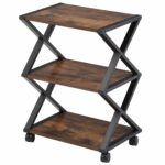 FITUEYES Printer Stand with Wheels X Shaped Wood Metal Matchwood 3 Shelf for Office Home Kitchen Storage 59.5x45.5x30.3cm DO304501WG