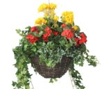 "Closer2Nature Artificial Red Begonia and Yellow Geranium Display in a 12"" Round Willow Hanging Basket"