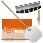 """14""""*12"""" Pizza Peel Aluminum Alloy Pizza Shovel Pizza Paddle Pizza Cutter+Pizza Slicer with 2-Section Detachable Portable Hanging Wood Handle for Home Baking Homemade Pizza Bread and Cookies Cake"""