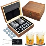 Jeasona Whiskey Gift Sets for Men Whisky Glasses with Whisky Stones for Single Malt Whisky Christmas Fathers' Day Gifts (Large)