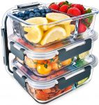 Glass Igluu Meal Prep 3 Compartment Container with Airtight SnapLock Lids - Portion Control Food Storage - BPA Free - Microwavable